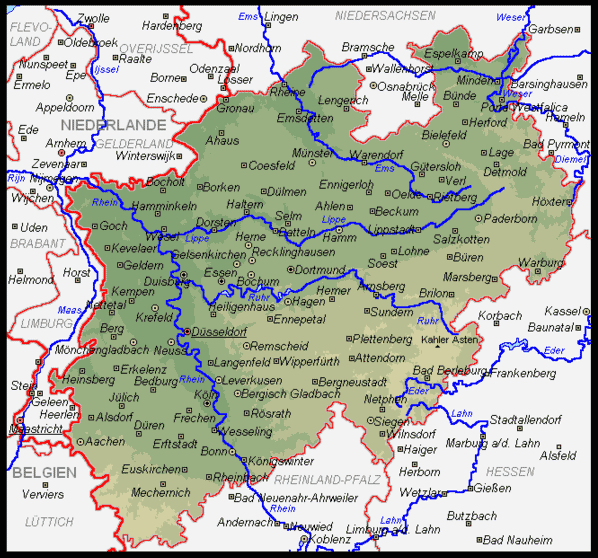 North Rhine Westphasia map